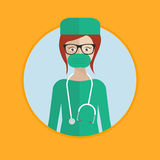 Surgeon in medical gown. Vector flat design illustration in the circle isolated on background vector illustration