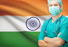 Surgeon with national flag on background series - India Royalty Free Stock Image