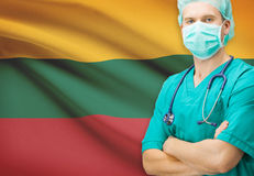 Surgeon with national flag on background series - Lithuania Stock Photos