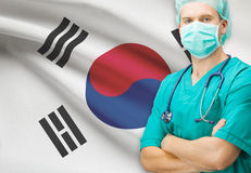 Surgeon with national flag on background series - South Korea Stock Photo