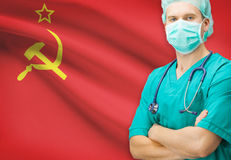 Surgeon with national flag on background series - Union of Soviet Socialist Republics Royalty Free Stock Photos