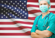 Surgeon with national flag on background series - United States Royalty Free Stock Photography