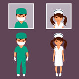 Surgeon and nurse personnel, hospital stock illustration