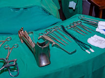 Surgeon and old surgical tools. Stock Photography