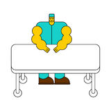 Surgeon and operating table. Doctor at work cartoon style Stock Photography
