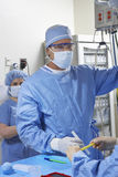 Surgeon In Preparation For Surgery. Male surgeon making preparing before surgery in operating room Stock Photography