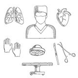 Surgeon profession objects and icons. With doctor in mask, with operation table and lamp, gloves, human heart and lung, scalpel and forceps Royalty Free Stock Photo