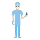 surgeon professional scalpel head mirror uniform Royalty Free Stock Photography
