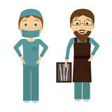Surgeon and radiologistctor in flat designe Royalty Free Stock Image