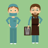 Surgeon and radiologistctor in flat designe Stock Photography