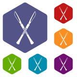 Surgeon scalpels icons set hexagon Royalty Free Stock Photo