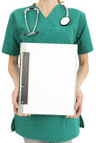 Surgeon showing clipboard Royalty Free Stock Photo