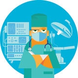 Surgeon standing at the operating table. Young surgeon standing at the operating table Stock Photos