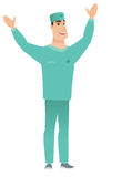 Surgeon standing with raised arms up. Successful caucasian surgeon standing with raised arms up. Full length of young happy surgeon in uniform celebrating with Stock Image