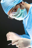 Surgeon in uniform close-up ready to step Stock Image