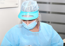 Surgeon uniform. Focus in the hat Stock Photography