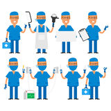 Surgeon in various poses Royalty Free Stock Photos