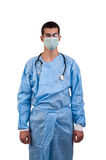 Surgeon wearing blue scrubs and mask Royalty Free Stock Image