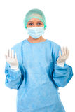 Surgeon woman prepare for surgery royalty free stock images