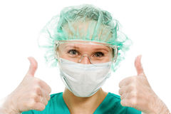 Surgeon woman showing okay gesture Stock Photo