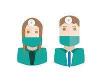 Surgeons avatars set Stock Images