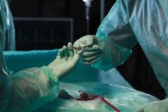 Surgeons during surgical intervention stock photo