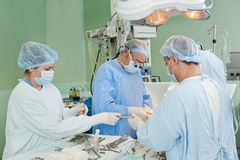 Surgeons team at cardiac surgery operation Royalty Free Stock Photo