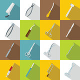 Surgeons tools icons set, flat style. Surgeons tools icons set. Flat illustration of 16 surgeons tools vector icons for web vector illustration