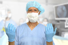 Surgery. Doctor in uniform preparing for surgery Royalty Free Stock Photography