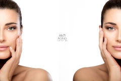 Surgery and Anti Aging Concept. Two Half Face Portraits Stock Photography