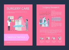 Surgery Care Medical Service Vector Illustration. Surgery care and research medical service poster of doctors doing operation to their patient, picture with text Stock Image