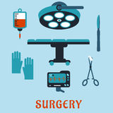 Surgery flat icons with operating room. Surgery flat icons with operation table, surgical lamp, scalpel, forceps with sponge, gloves, heartbeat monitor, blood Royalty Free Stock Photos