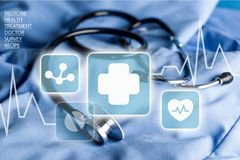 Surgery. Hospital Scrubs Stethoscope Domestic Room Blue Healthcare And Medicine Stock Images