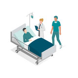 Surgery and hospitalization. Doctor and surgeon taking care of the patient on the bed at the hospital Royalty Free Stock Images
