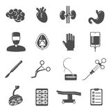 Surgery Icons Black. Set  with brain blood stomach scalpel isolated vector illustration Royalty Free Stock Photo