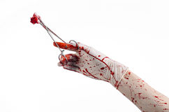 Surgery and medicine theme: doctor bloody hand in glove holding a bloody surgical clamp with swab and performs surgery Stock Photography