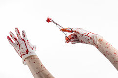 Surgery and medicine theme: doctor bloody hand in glove holding a bloody surgical clamp with swab and performs surgery Royalty Free Stock Photos