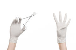 Surgery and medicine theme: doctor's hand in a white glove holding a surgical clamp with swab isolated on white background Royalty Free Stock Photo