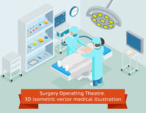 Surgery operating theatre. 3D isometric vector. Surgery operating theatre. 3D isometric medical. Procedure in hospital, surgeon doctor, operation sterile Royalty Free Stock Image