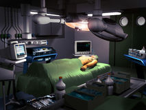 Surgery room. Interior of a surgery room, where an intubated  patient waits to be operated Royalty Free Stock Photos