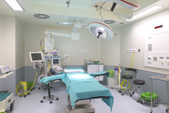 Surgery room interior with medical equipment. Stock Photo