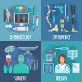Surgery, therapy, orthopedic, rheumatology icons. Surgery, therapy, orthopedic and rheumatology icons with flat symbols of doctors, operation table and surgery Royalty Free Stock Images