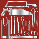 Surgery Tools. An illustrated set of various tools used in surgery, on red background Royalty Free Stock Photos