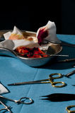 Surgery Tools With Blood. Close-up Royalty Free Stock Image
