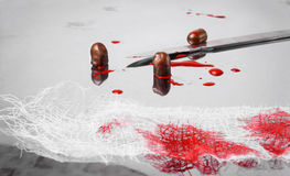 Surgical concept with bullets and blood Stock Photos