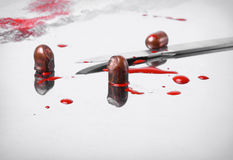 Surgical concept with bullets and blood Royalty Free Stock Photography