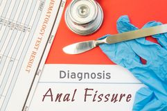 Surgical diagnosis of Anal Fissure. Surgical medical instrument scalpel, latex gloves, blood test analysis lie close beside text i. Nscription diagnosis of Anal stock images