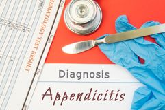 Surgical diagnosis of Appendicitis. Surgical medical instrument scalpel, latex gloves, blood test analysis lie close beside text i. Nscription diagnosis of stock images