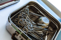 Surgical equipment in a box Royalty Free Stock Photos