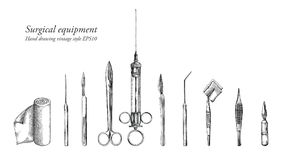 Surgical equipment set hand drawing vintage style. Clip art isolated on white background Royalty Free Stock Photos